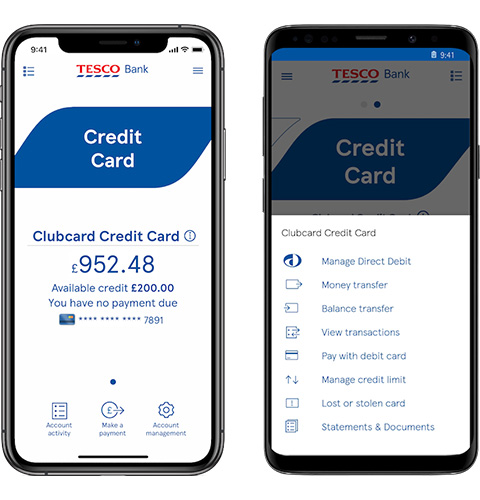 Credit card view in the mobile app