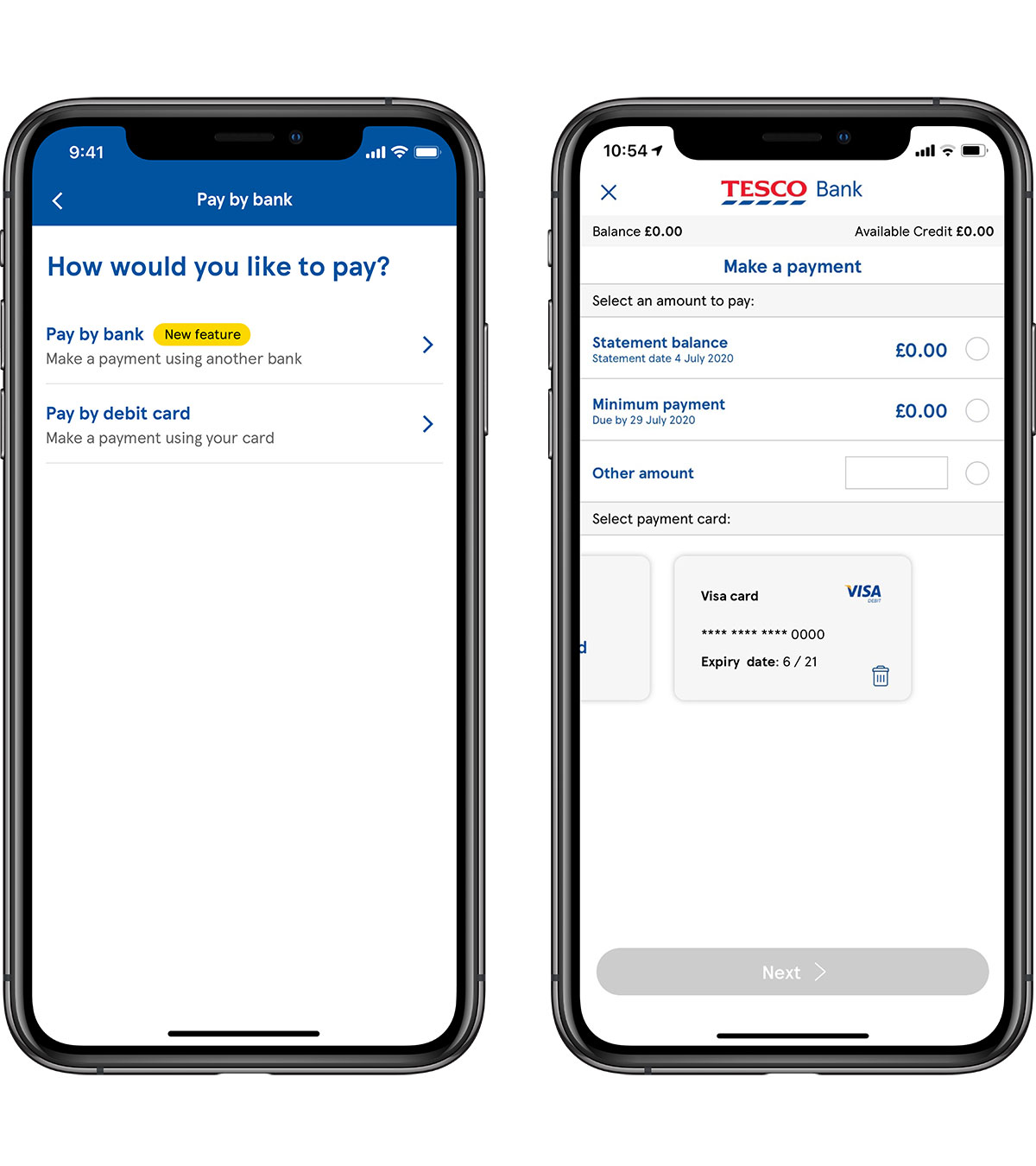 Credit card payments in the mobile app