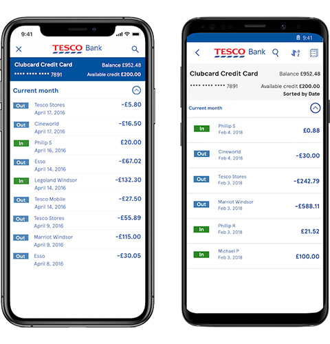 Credit card transactions in the mobile app