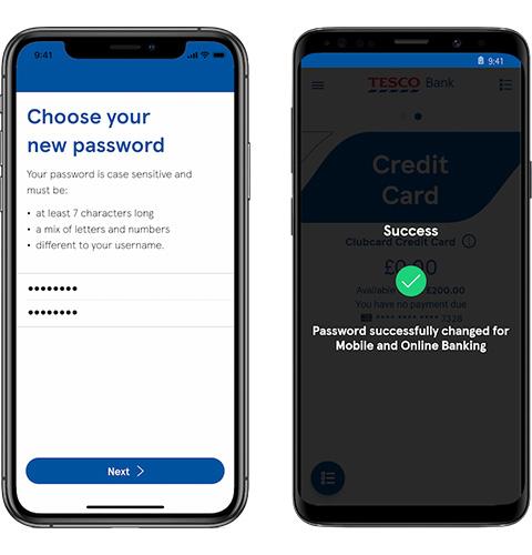 Mobile app reset password screen