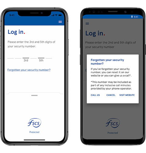 Mobile app forgotten security number screen
