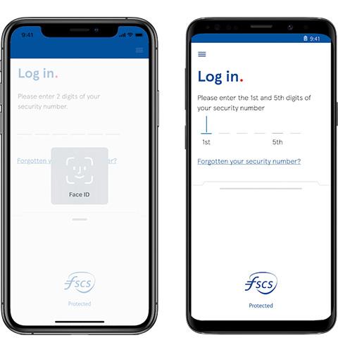 Mobile app log in screen