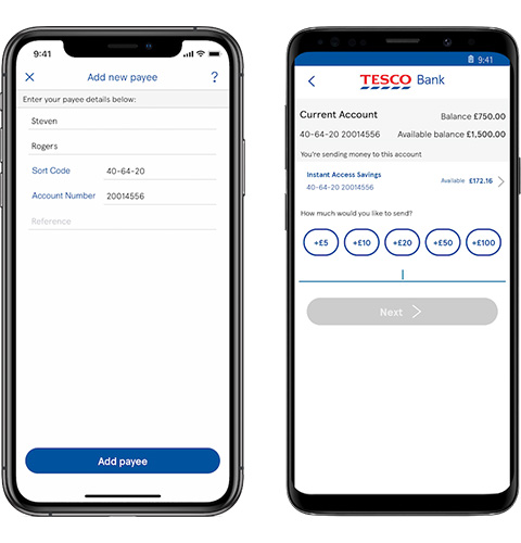 Mobile app payments screen