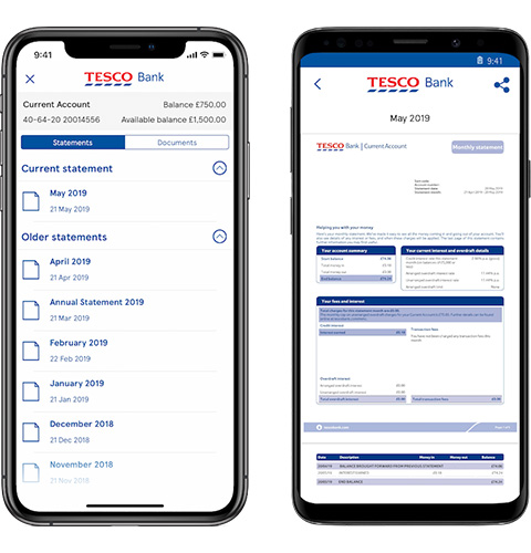 Mobile app statements screen