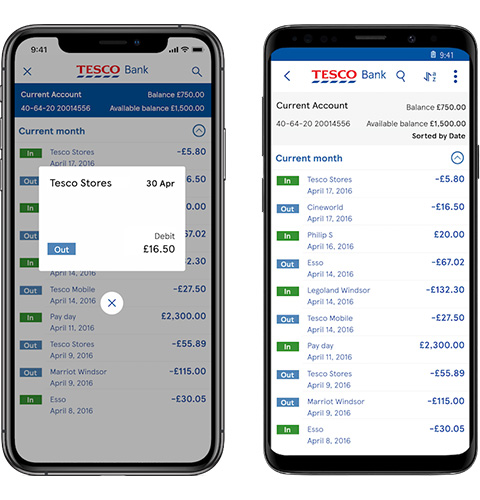 Mobile app transactions screen