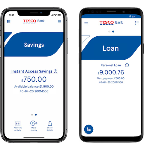 Savings and loan screen on the mobile app