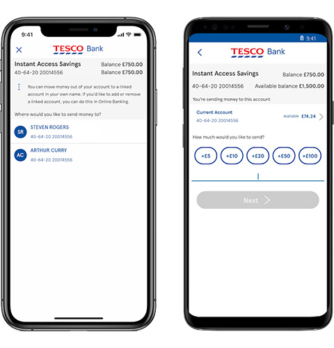 Payments and transfers screen on the mobile app