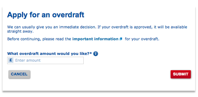 Apply for an overdraft