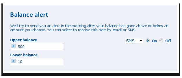 Display of the balance alert settings.