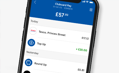 Clubcard Pay mobile screen