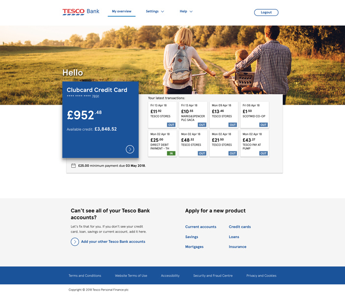 Overview page of a current account.