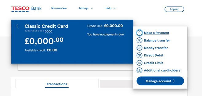 Overview of a Clubcard Credit Card.