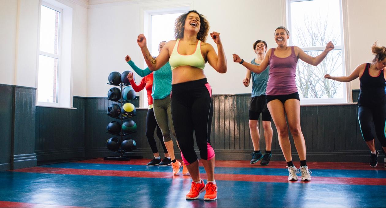 ladies enjoying a fitness class