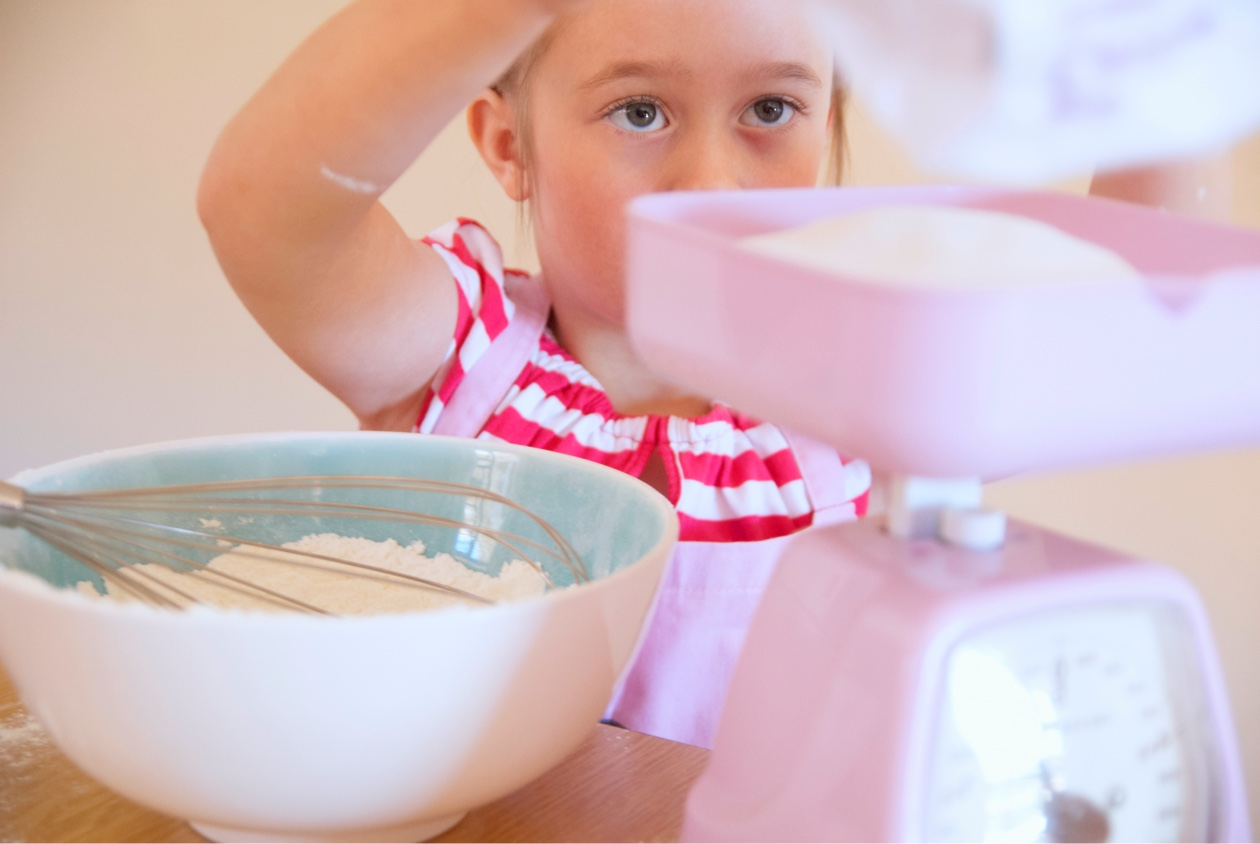 girl baking a cake