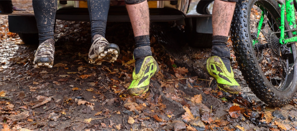 muddy cycling shoes