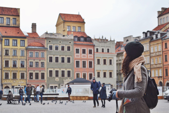 woman in town square