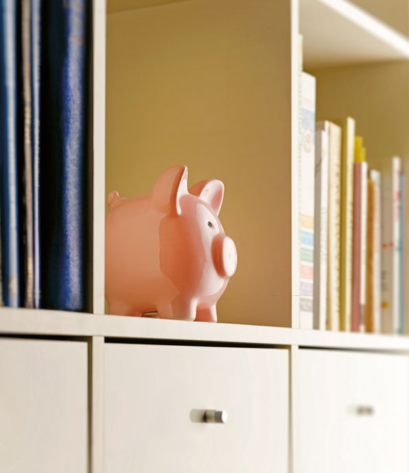 piggy bank sitting on shelf