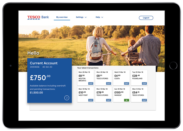 A photo of an I-Pad which is displaying the Tesco Bank's current account profile overview.