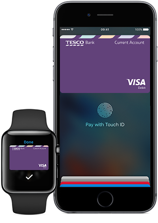 Apple Watch and Iphone showing Apple Pay