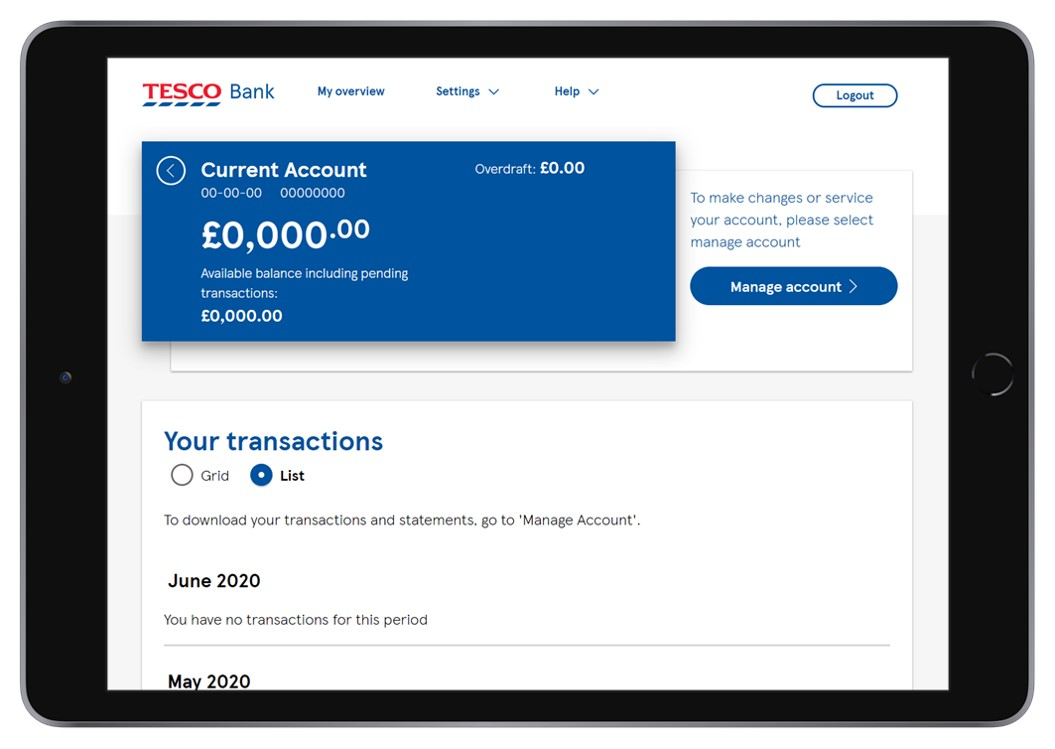 A photo of an ipad which is displaying the transaction page of a current account.