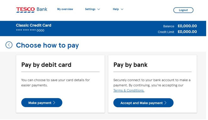 A display of the Make a Payment screen.