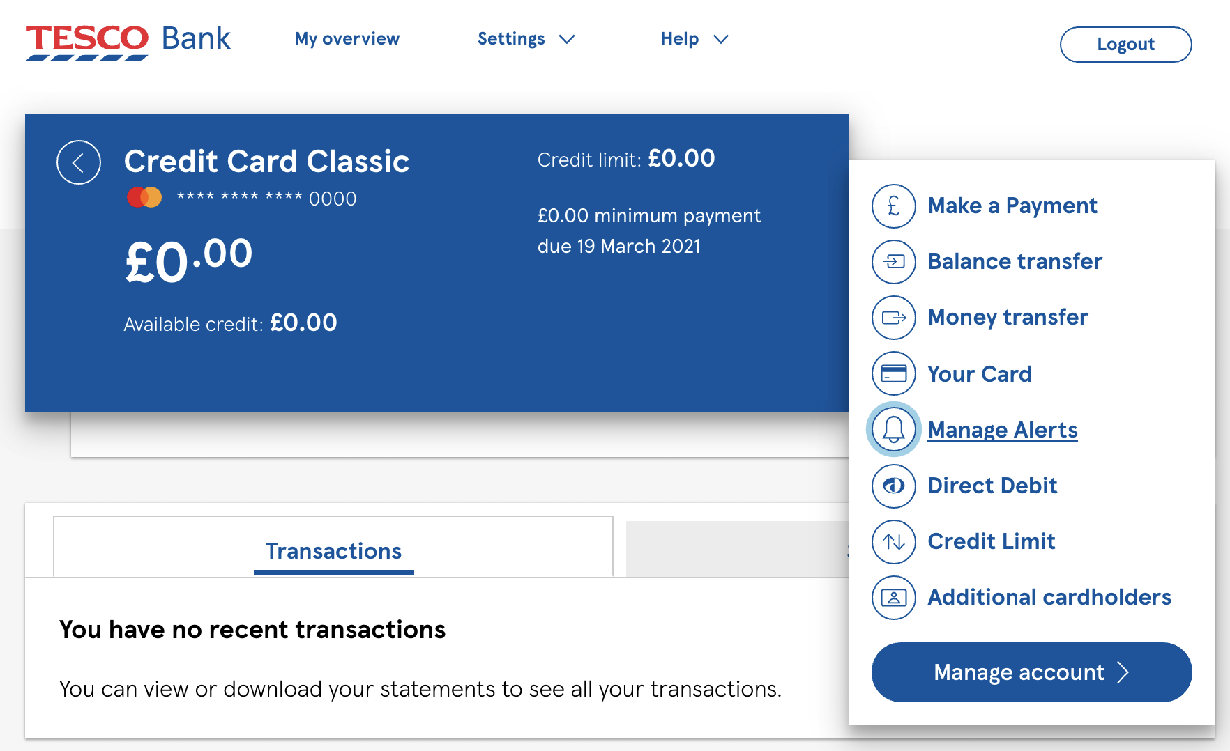 Managing your credit cards alerts