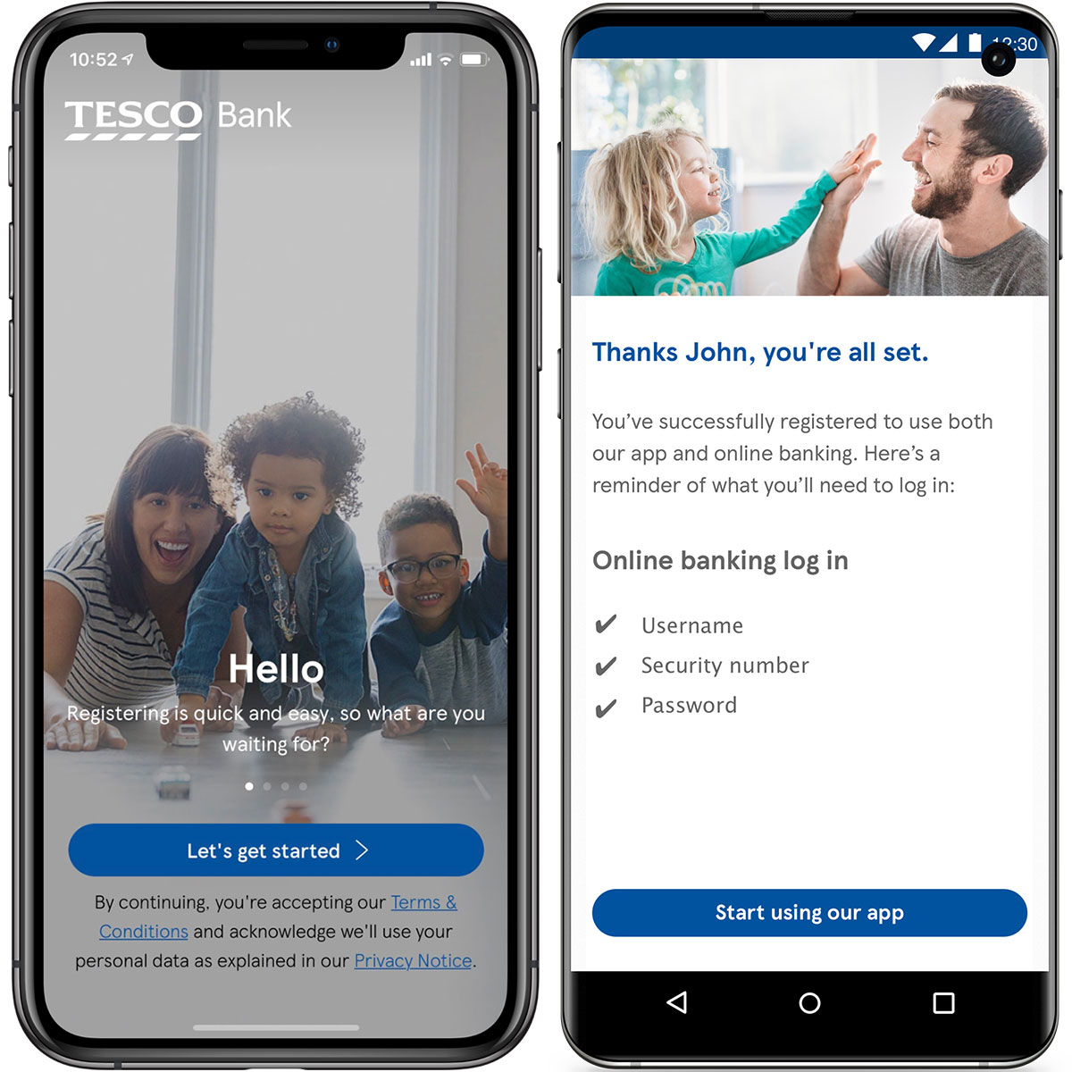 Tesco Bank's mobile app landing page.