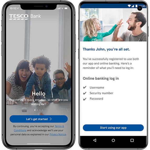 Tesco Bank's mobile app landing page.