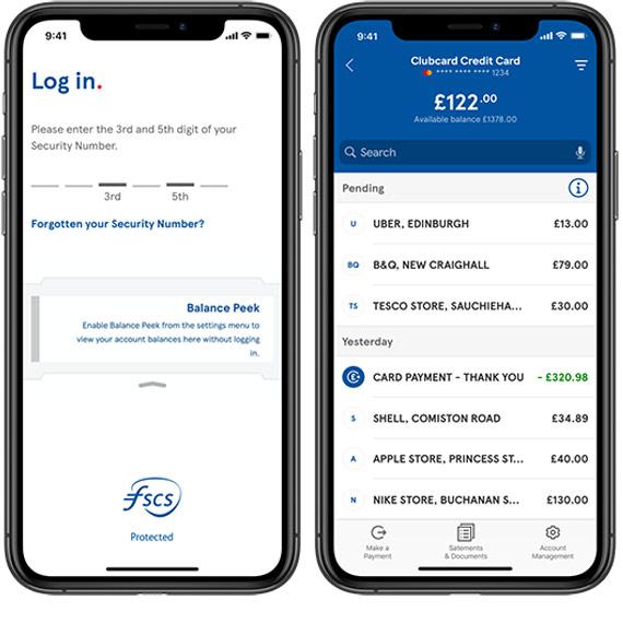 Tesco Bank Mobile Banking App check balance screen