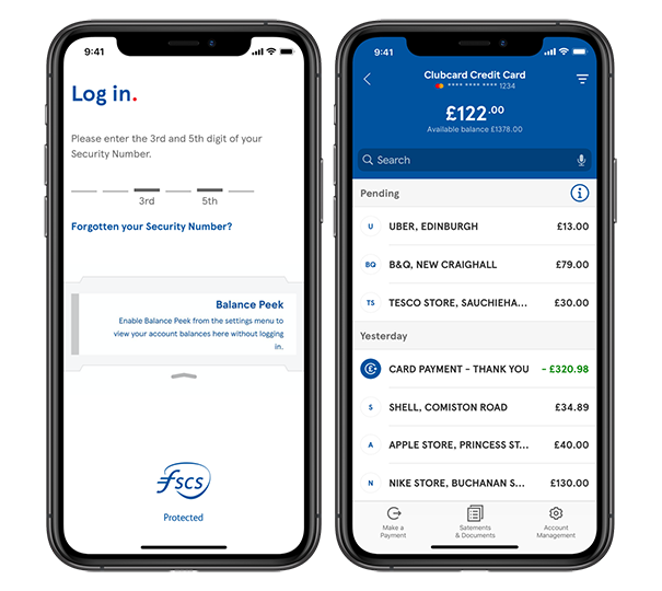 A display of Tesco Bank's mobile view of a current account.