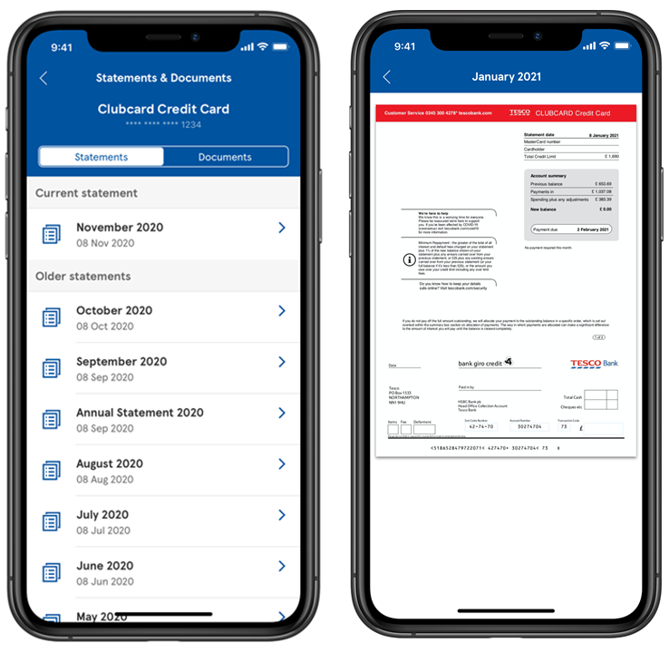 Credit card statements in the mobile app