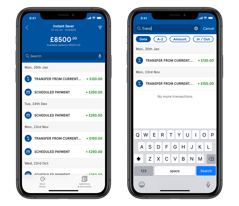 Transactions screen in the mobile app