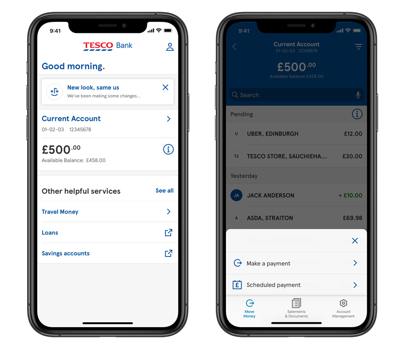 Current accounts screen on the mobile app