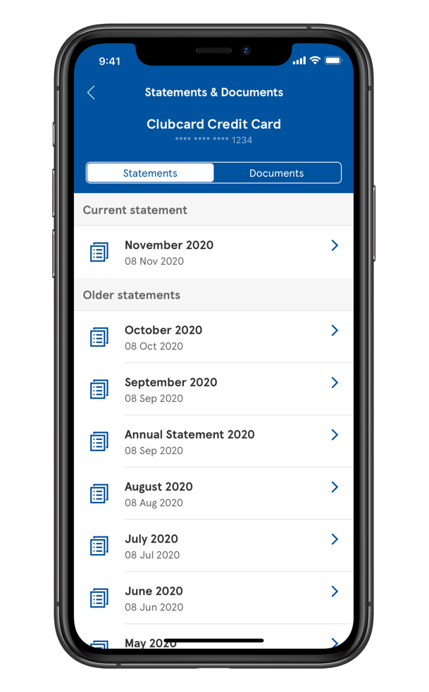 Overview of Tesco Bank's mobile banking app on the Statements page.
