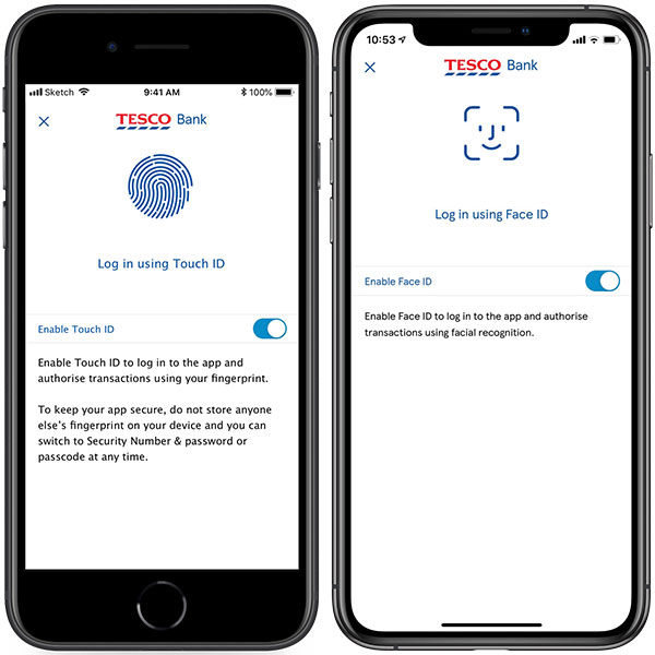 A display of Tesco Bank's Touch ID and Face ID features.