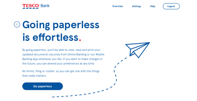A display of the Going Paperless page.