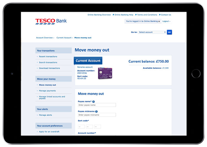 A photo of an I-Pad which displays the Tesco Bank move money out page.