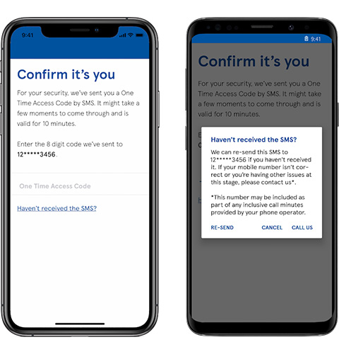 Mobile app confirm your number screen