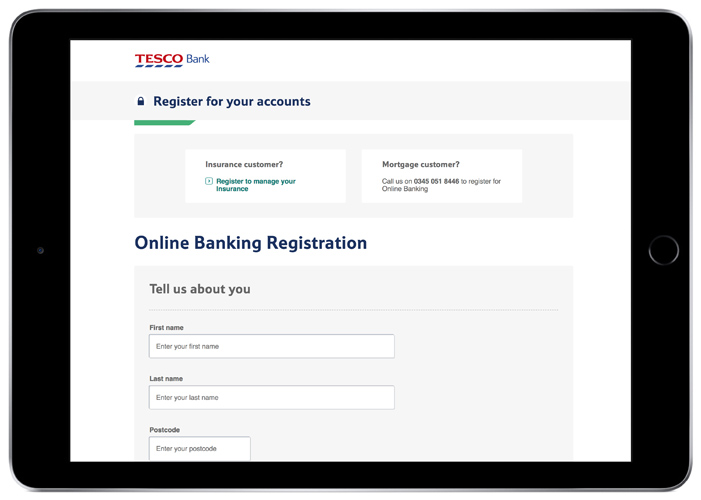 A photo of an I-Pad with Tesco Bank's register screen open on it.