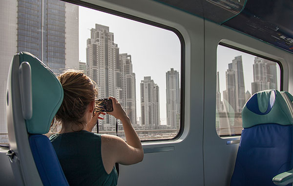 woman travelling on a train