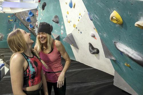 women wall climbing